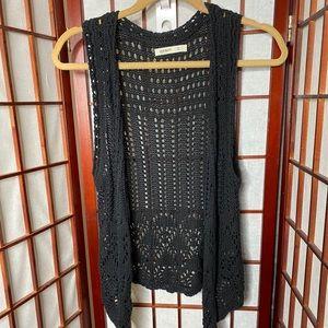 Old navy black crochet vest boho